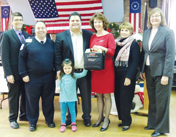 Dale Palma, Christopher Borges, Mayor Carlo DeMaria and his daughter Alexandra, Marjorie White, Judy Lonergan, and CarolynLightburn
